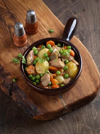 ragout: Pork and vegetables goulash (or ragout), selective focus