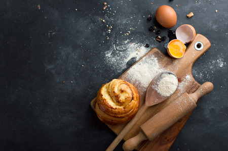 cakes and pastries: Baking pastry ingredients, selective focus. Cooking course poster background - layout with free text space.
