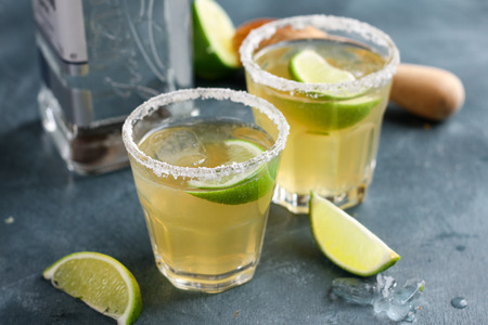 margarita drink: Homemade classic margarita drink with lime and salt, selective focus Stock Photo