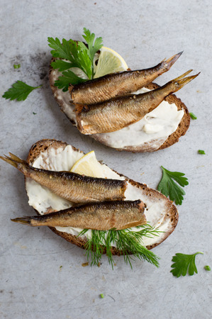 sardine can: Sandwiches with sprats or sardines on stone background, selective focus