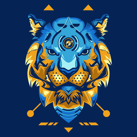Amazing Tiger Head Vector Illustration in Blue Background Standard-Bild - 113771735