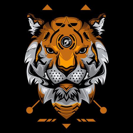 Perfect Tiger Head Vector Illustration in Black Background Standard-Bild - 113771755