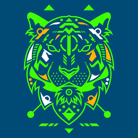 Perfect Tiger Head Vector Illustration in Blue Background Standard-Bild - 113771759