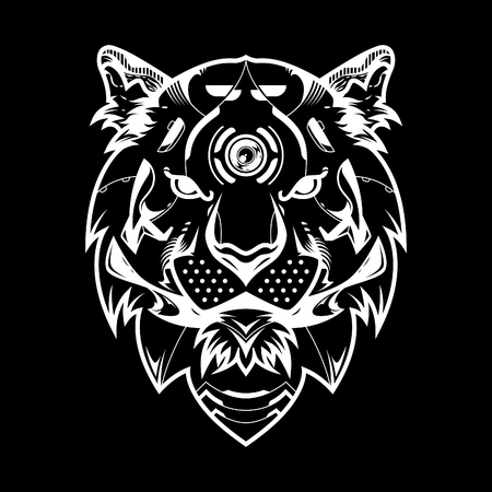 Tiger Head Vector Illustration in Black Background Standard-Bild - 113771781