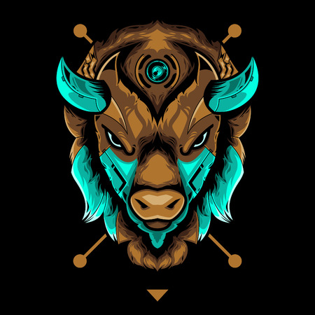 Perfect Bison Head Vector Illustration in Black Background Standard-Bild - 120647203