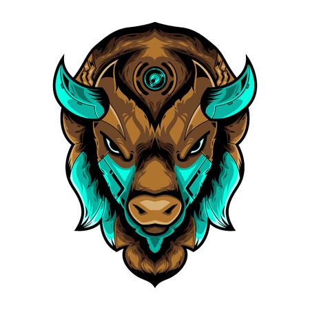 Perfect Bison Head Vector Illustration in White Background Standard-Bild - 120647204