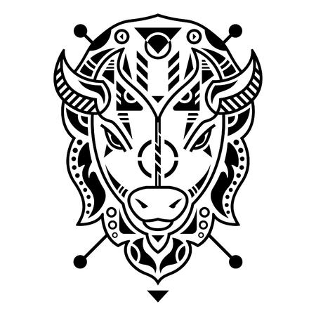 Unique Bison Head Vector Illustration in White Background Standard-Bild - 120647208