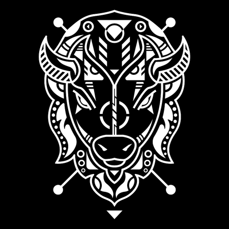 Unique Bison Head Vector Illustration in Black Background Standard-Bild - 120647207