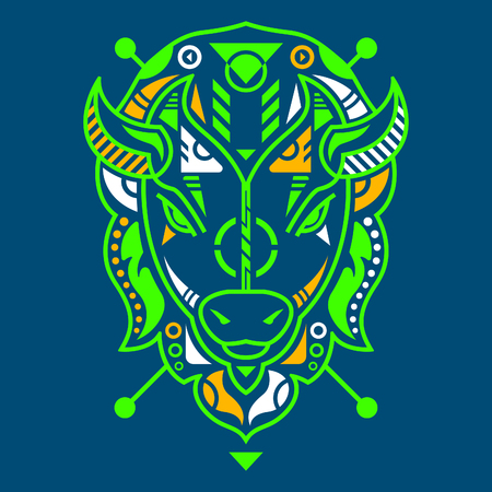 Perfect Bison Head Vector Illustration in Blue Background Standard-Bild - 120647209