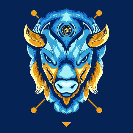 Incredibile illustrazione vettoriale testa di bisonte in sfondo blu