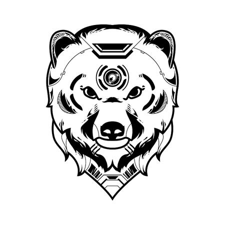 Bear Head Vector Illustration in White Background Standard-Bild - 120647219