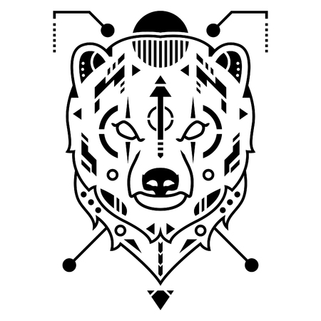 Unique Bear Head Vector Illustration in White Background Standard-Bild - 120647214