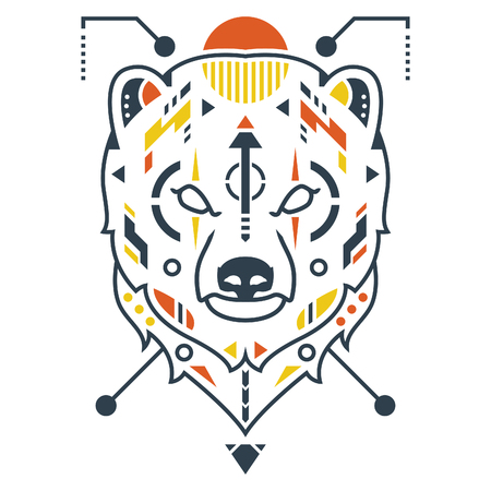 Amazing Bear Head Vector Illustration in White Background Standard-Bild - 120647222