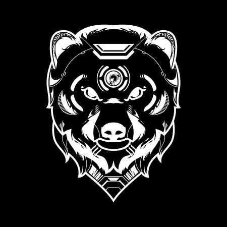 Bear Head Vector Illustration in Black Background Standard-Bild - 120647227