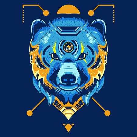 Amazing Bear Head Vector Illustration in Blue Background Standard-Bild - 120647226