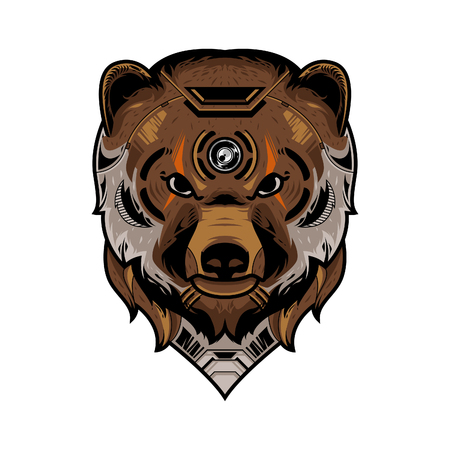 Perfect Bear Head Vector Illustration in White Background Standard-Bild - 120647228