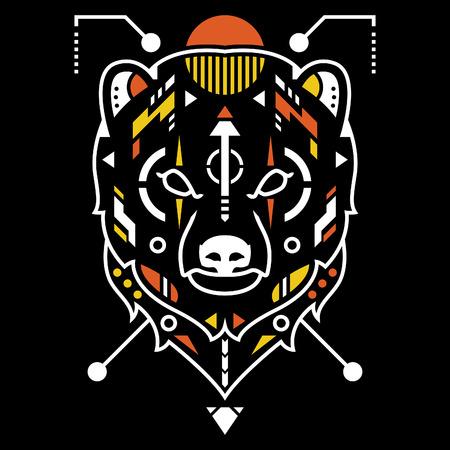Amazing Bear Head Vector Illustration in Black Background Standard-Bild - 120647230
