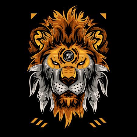 Perfect Lion Head Vector Illustration in Black Background Standard-Bild - 120647265