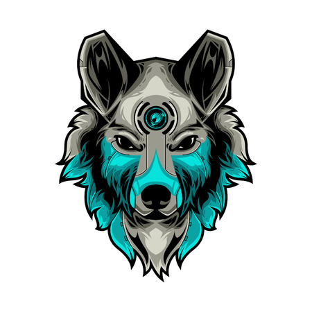 Perfect Wolf Head Vector Illustration in White Background