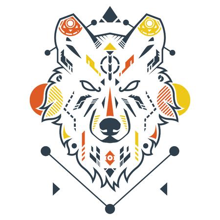 Amazing Wolf Head Vector Illustration in White Background Standard-Bild - 120647268