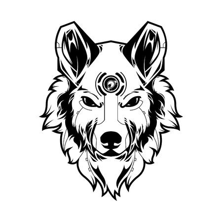 Ilustración de vector de cabeza de lobo en fondo blanco