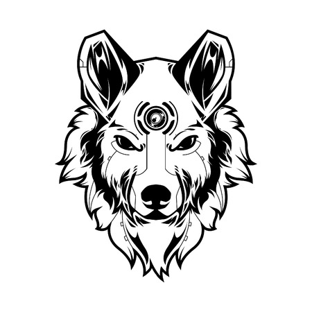 Wolf Head Vector Illustration in White Background
