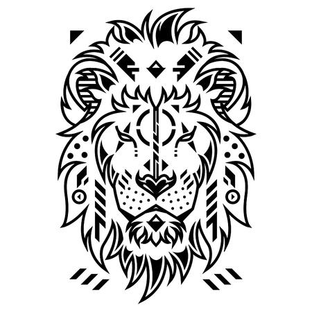 Unique Lion Head Vector Illustration in White Background Standard-Bild - 120647276
