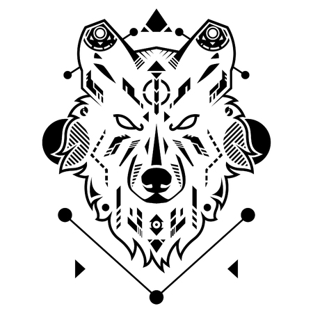 Unique Wolf Head Vector Illustration in White Background Standard-Bild - 120647278