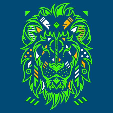Perfect Lion Head Vector Illustration in Blue Background Standard-Bild - 120647280
