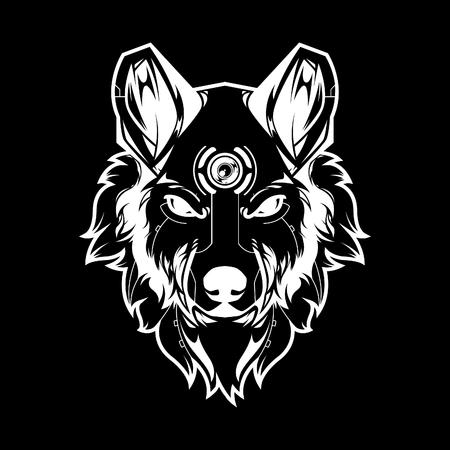 Wolf Head Vector Illustration in Black Background Standard-Bild - 120647283