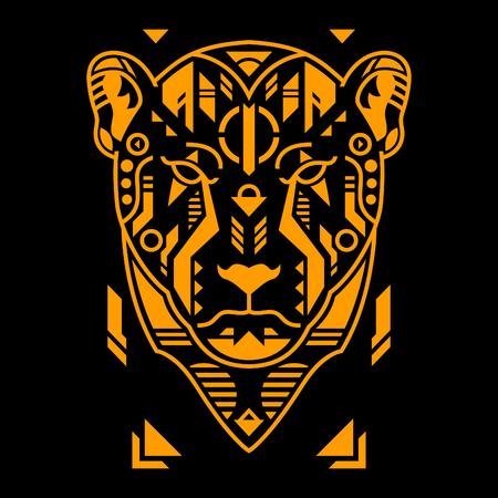 Vector Illustration. Orange Cheetah Head in Black Background. Unique Lineart Style Standard-Bild - 120647295
