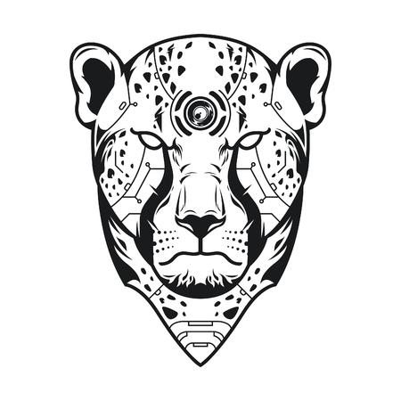 Vector Illustration. Cheetah Head in White Background. Lineart Style Standard-Bild - 120647311