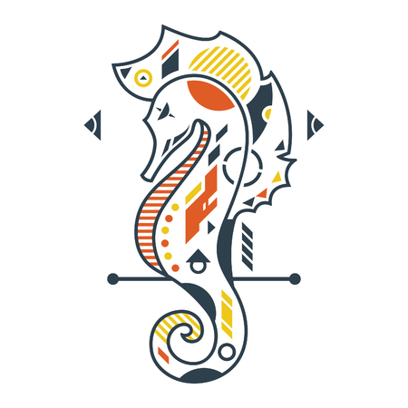 Vector Illustration. Perfect Seahorse in White Background. Unique Lineart Style Standard-Bild - 120647297