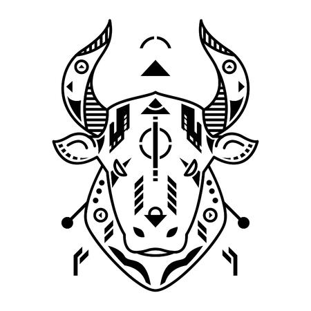 Vector Illustration. Bull Head in White Background. Unique Lineart Style Standard-Bild - 120647298