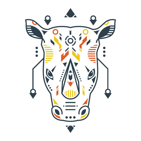 Vector Illustration. Perfect Rhino Head in White Background. Unique Lineart Style Standard-Bild - 120647301