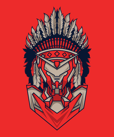 Indian Mecha in Red Background. Perfect for T-Shirt Design, Sticker, Poster, Tattoo Standard-Bild - 120647304