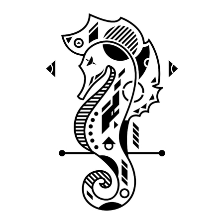 Vector Illustration. Seahorse in White Background. Unique Lineart Style Standard-Bild - 120647390