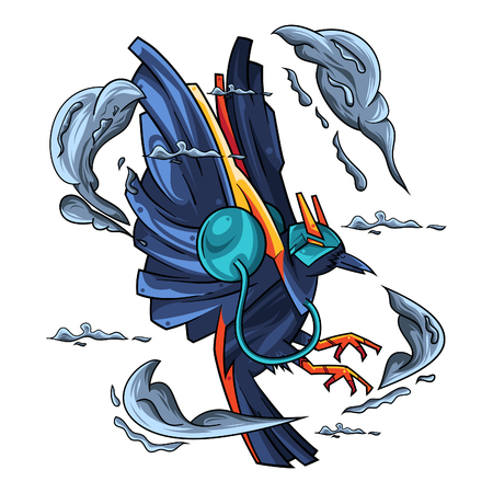 Vector Illustration. The Blue Crow Flying with Smoke in White Background Standard-Bild - 120647362