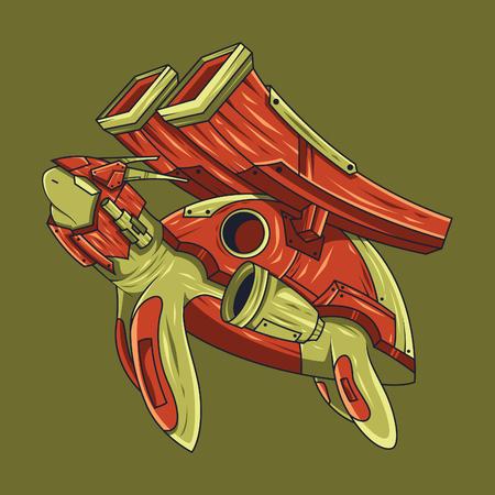 Vector illustration. Turtle combat in green background. For t-shirt design, poster, sticker Standard-Bild - 120647363