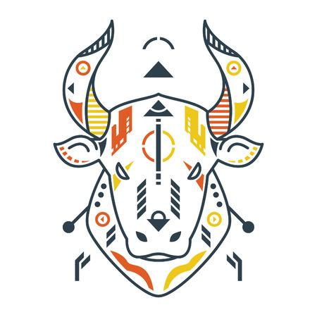 Vector Illustration. Perfect Bull Head in White Background. Unique Lineart Style Standard-Bild - 120704575