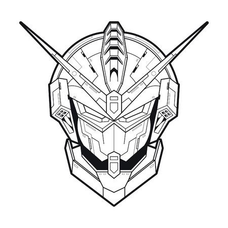 Vector illustration. Mecha X114 in white background. For t-shirt design, poster, sticker. Line Style Standard-Bild - 120704577