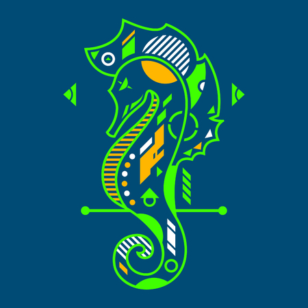 Vector Illustration. Neon Seahorse in Blue Background. Unique Lineart Style Standard-Bild - 120704581