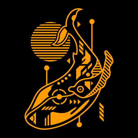 Vector Illustration. Orange Whale in Black Background. Unique Lineart Style Standard-Bild - 120704583