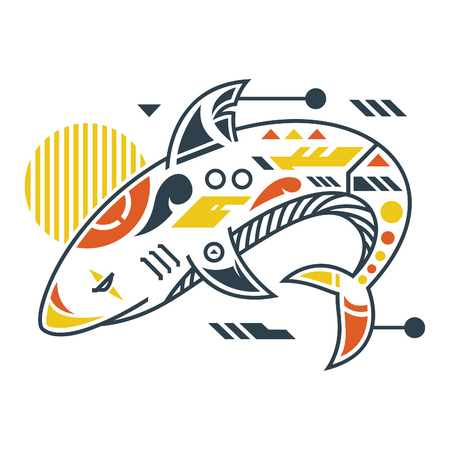 Vector Illustration. Perfect Shark in White Background. Unique Lineart Style Standard-Bild - 120704585