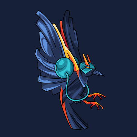 Vector Illustration. The Blue Crow Flying in Dark Background