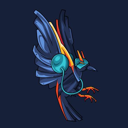 Vector Illustration. The Blue Crow Flying in Dark Background Standard-Bild - 120704587