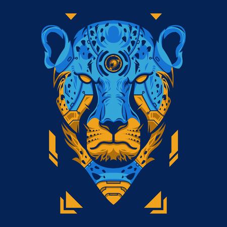 Vector Illustration. Blue and Orange Cheetah Head in Blue Background Standard-Bild - 120704595