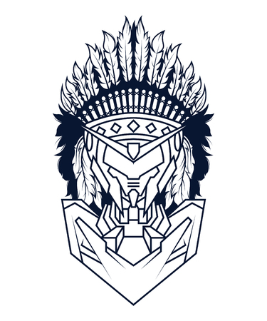 Indian Mecha in White Background. Perfect for T-Shirt Design, Sticker, Poster, Tattoo. Line Style Standard-Bild - 120717106