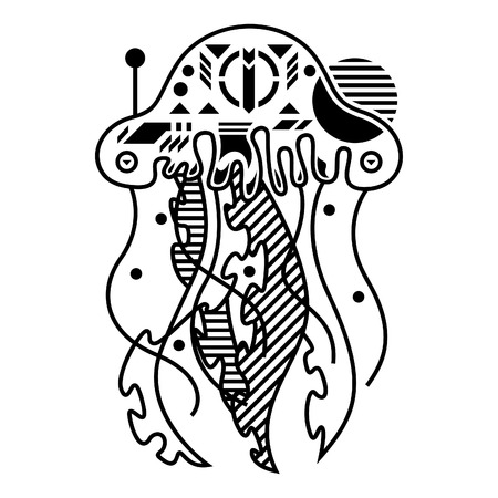 Vector Illustration. Jellyfish in White Background. Unique Lineart Style Standard-Bild - 120717110