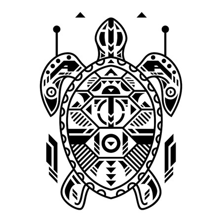 Vector Illustration. Turtle in White Background. Unique Lineart Style Standard-Bild - 120717117